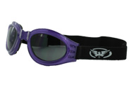 Purple Motorcycle Goggles that Fold
