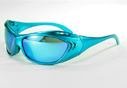 sunglasses with ocean blue frames and lenses