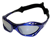 Blue Framed Waveshields with Flash Mirrored Dark smoke lenses